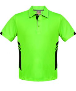 Kid's Tasman Polo - 6, Neon Green/Black