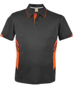 Kid's Tasman Polo - 14, Slate/Neon Orange