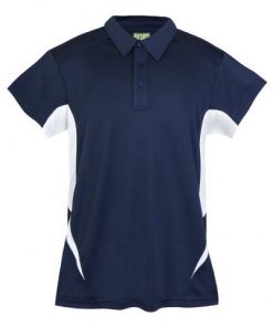 Mens Poly Sports Polo - Navy/White
