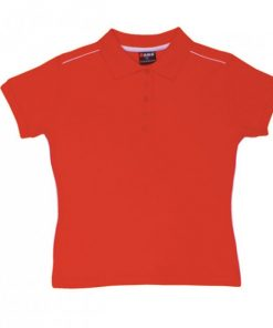 Women's Single Piping Polo - 12, Red/White