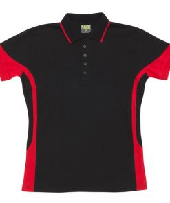 Women's super fine cotton blend polo - 14, Black/Red