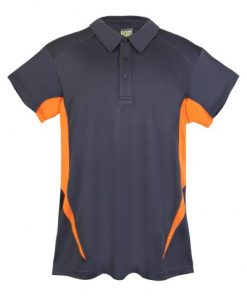Mens Poly Sports Polo - Charcoal/Orange