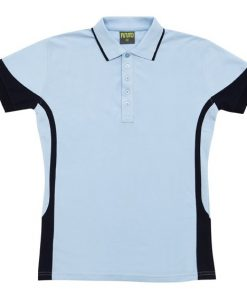 Women's super fine cotton blend polo - 12, Sky/Navy