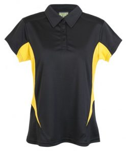 Womens Poly Sports Polo - Black/Gold