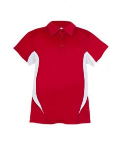 Kids Poly Sports Polo - Red/White