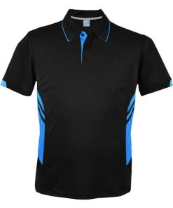 Men's Tasman Polo - M, Black/Cyan