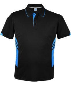 Men's Tasman Polo - L, Black/Cyan