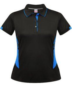 Women's Tasman Polo - 4, Black/Cyan