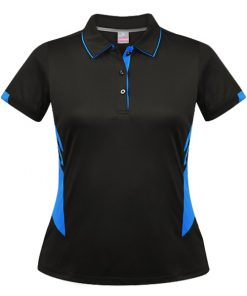 Women's Tasman Polo - 24, Black/Cyan