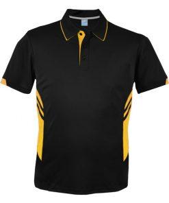 Men's Tasman Polo - S, Black/Gold