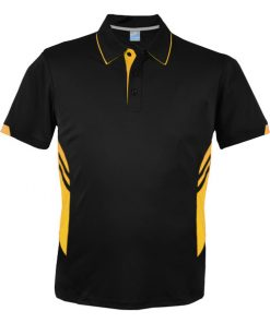 Men's Tasman Polo - M, Black/Gold