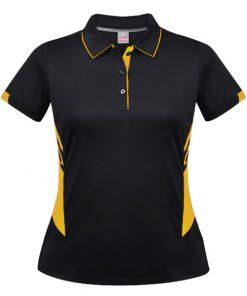Women's Tasman Polo - 16, Black/Gold