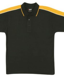 Men's Shoulder Panel Polo - S, black body with gold pannel & white piping