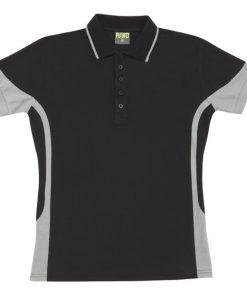 Men's super fine cotton blend polo - Black/Grey, M