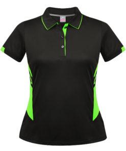 Women's Tasman Polo - 8, Black/Neon Green