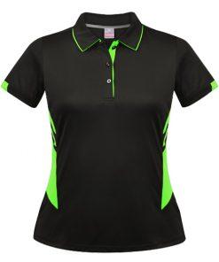 Women's Tasman Polo - 16, Black/Neon Green