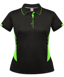 Women's Tasman Polo - 4, Black/Neon Green
