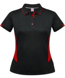 Women's Tasman Polo - 14, Black/Red