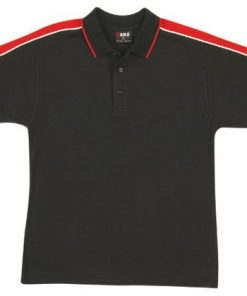 Men's Shoulder Panel Polo - L, black body with red pannel & white piping