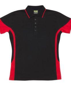 Men's super fine cotton blend polo - Black/Red, M