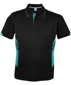 Men's Tasman Polo - L, Black/Teal