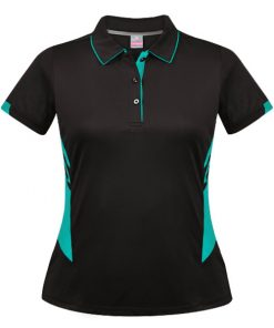 Women's Tasman Polo - 10, Black/Teal