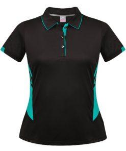 Women's Tasman Polo - 4, Black/Teal