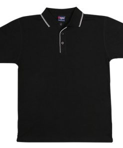 Men's Double Strip Polo - L, Black/White
