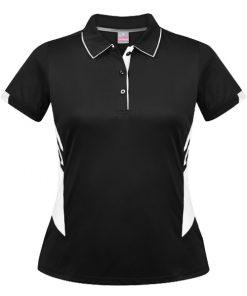 Women's Tasman Polo - 4, Black/White