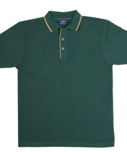 Men's Double Strip Polo - L, Bottle Green/Gold