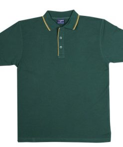 Men's Double Strip Polo - 3XL, Bottle Green/Gold
