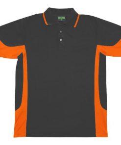 Men's super fine cotton blend polo - Charcoal/Orange, M