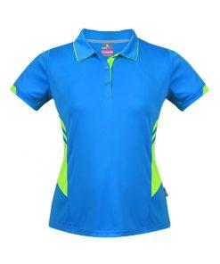 Women's Tasman Polo - 16, Cyan/Neon Green