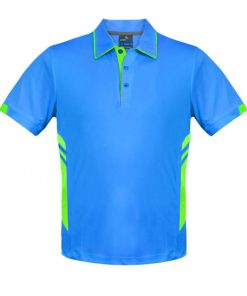 Men's Tasman Polo - S, Cyan/Neon Green