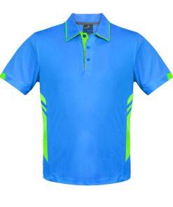 Men's Tasman Polo - L, Cyan/Neon Green