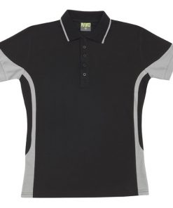 Women's super fine cotton blend polo - 12, Black/Grey