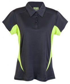 Womens Poly Sports Polo - Charcoal/Lime