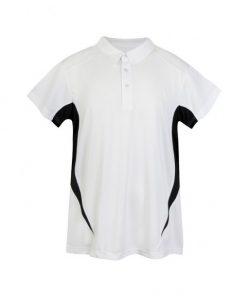 Kids Poly Sports Polo - White/Black