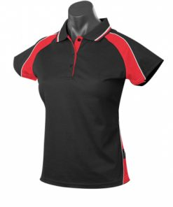Women's Panorama Polo - 12, Black/Red/White