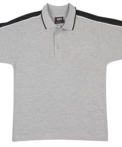 Men's Shoulder Panel Polo - L, grey body with black pannel & white piping