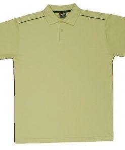 Men's Single Piping Polo - L, Khaki/Navy
