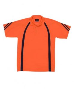 Men's Cool Best Polo - Orange/Navy Hi-Vis, L