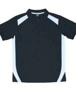 Men's Cool Sports Polo - Black/Grey, L