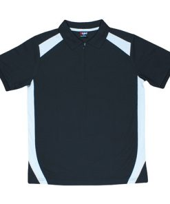 Men's Cool Sports Polo - Black/Grey, XL