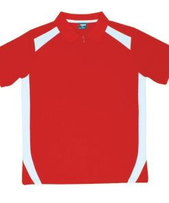 Men's Cool Sports Polo - Red/White, L