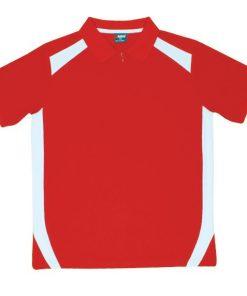 Men's Cool Sports Polo - Red/White, XL