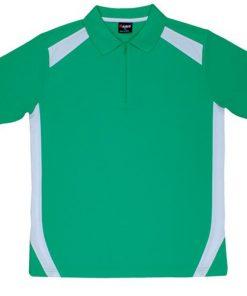 Men's Cool Sports Polo - White/Emerald Green, M