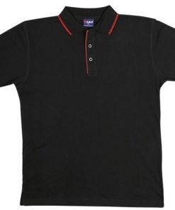 Men's Double Strip Polo - 3XL, Black/Red