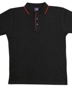 Men's Double Strip Polo - L, Black/Red