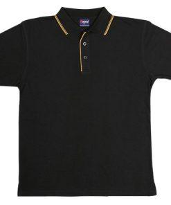 Men's Double Strip Polo - M, Black/Gold
